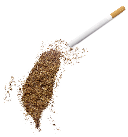ciggy: The country shape of Taiwan made of tobacco and a cigarette.(series)
