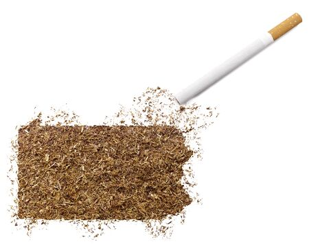 ciggy: The country shape of Pennsylvania made of tobacco and a cigarette.(series)