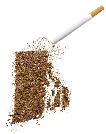ciggy: The country shape of Rhode Island made of tobacco and a cigarette.(series)