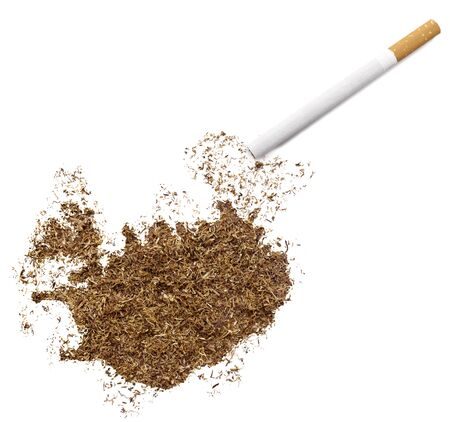ciggy: The country shape of Iceland made of tobacco and a cigarette.(series) Stock Photo