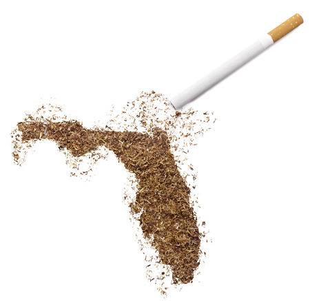 floridian: The country shape of Florida made of tobacco and a cigarette.(series)