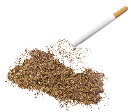 ciggy: The country shape of El Salvador made of tobacco and a cigarette.(series) Stock Photo