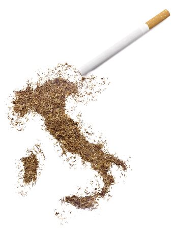 ciggy: The country shape of Italy made of tobacco and a cigarette.(series)