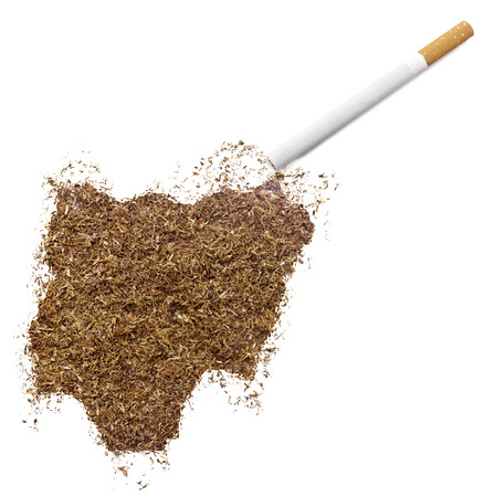 ciggy: The country shape of Nigeria made of tobacco and a cigarette.(series) Stock Photo