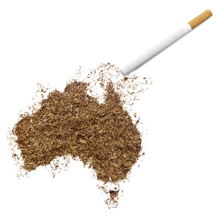 ciggy: The country shape of Australia made of tobacco and a cigarette.(series)