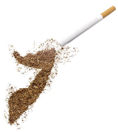 somali: The country shape of Somalia made of tobacco and a cigarette.(series)