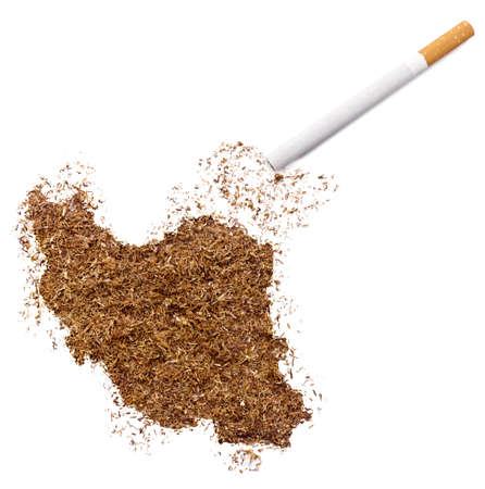 ciggy: The country shape of Iran made of tobacco and a cigarette.(series)