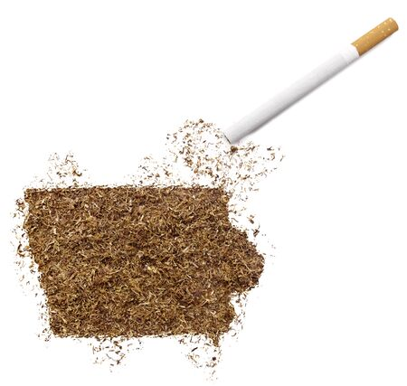 ciggy: The country shape of Iowa made of tobacco and a cigarette.(series)