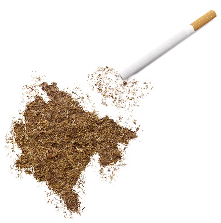 ciggy: The country shape of Montenegro made of tobacco and a cigarette.(series)