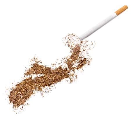 ciggy: The country shape of Nova Scotia made of tobacco and a cigarette.(series)