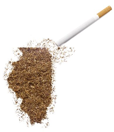 ciggy: The country shape of Illinois made of tobacco and a cigarette.(series) Stock Photo