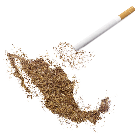 ciggy: The country shape of Mexico made of tobacco and a cigarette.(series)