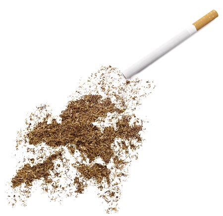 ciggy: The country shape of Hong Kong made of tobacco and a cigarette.(series) Stock Photo