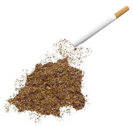 ciggy: The country shape of Vatican City made of tobacco and a cigarette.(series) Stock Photo