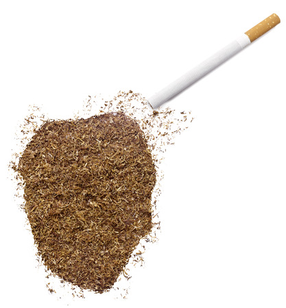 ciggy: The country shape of Sierra Leone made of tobacco and a cigarette.(series) Stock Photo