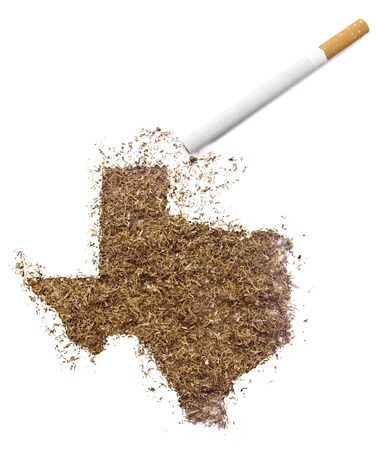 ciggy: The country shape of Texas made of tobacco and a cigarette.(series)
