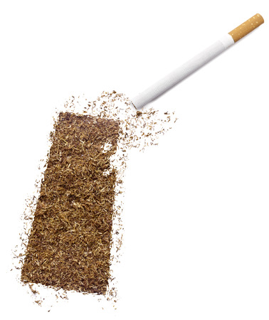 ciggy: The country shape of Saskatchewan made of tobacco and a cigarette.(series) Stock Photo