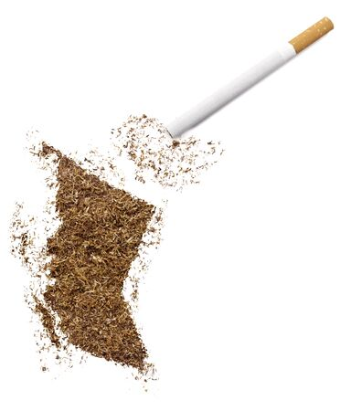 ciggy: The country shape of British Columbia made of tobacco and a cigarette.(series) Stock Photo