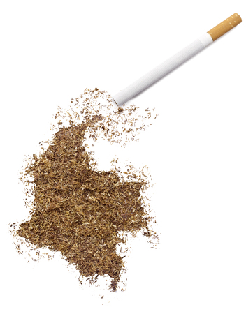 The country shape of Colombia made of tobacco and a cigarette.(series) Stock fotó - 42778429