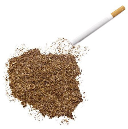 ciggy: The country shape of Poland made of tobacco and a cigarette.(series) Stock Photo