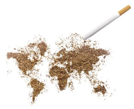 smoking issues: The country shape of the world made of tobacco and a cigarette.(series)