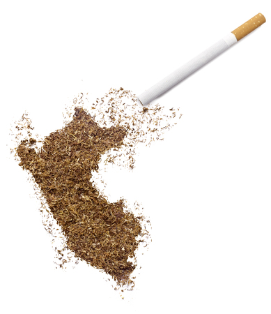 ciggy: The country shape of Peru made of tobacco and a cigarette.(series) Stock Photo