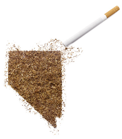 ciggy: The country shape of Nevada made of tobacco and a cigarette.(series) Stock Photo