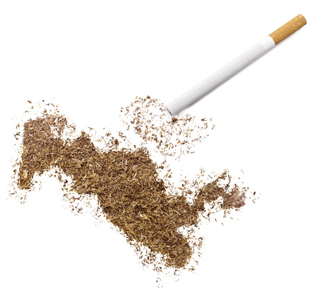 ciggy: The country shape of Uzbekistan made of tobacco and a cigarette.(series)
