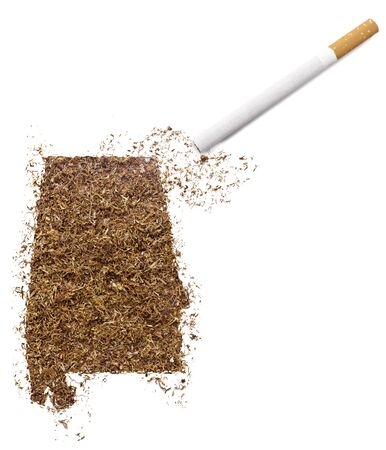 ciggy: The country shape of Alabama made of tobacco and a cigarette.(series) Stock Photo
