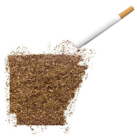 ciggy: The country shape of Arkansas made of tobacco and a cigarette.(series) Stock Photo
