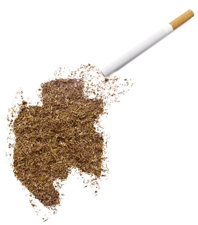 ciggy: The country shape of Gabon made of tobacco and a cigarette.(series)