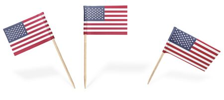 Small cocktail flags of USA in different positions isolated on white.(series) . Also easy to use as a design element :)