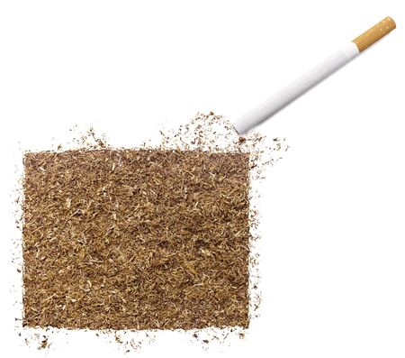 ciggy: The country shape of Wyoming made of tobacco and a cigarette.(series) Stock Photo