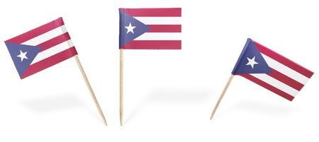 rican: Small cocktail flags of Puerto Rico in different positions isolated on white.(series) . Also easy to use as a design element :) Stock Photo