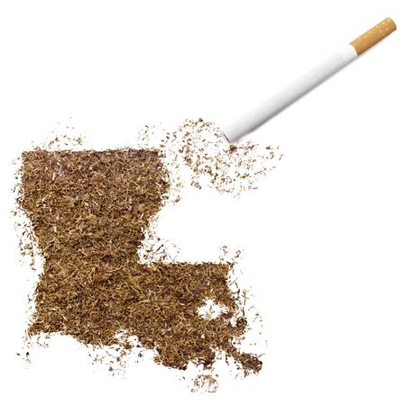 ciggy: The country shape of Louisiana made of tobacco and a cigarette.(series) Stock Photo