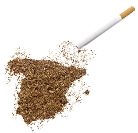 ciggy: The country shape of Spain made of tobacco and a cigarette.(series) Stock Photo