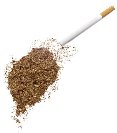 tome: The country shape of Sao Tome and Principe made of tobacco and a cigarette.(series)