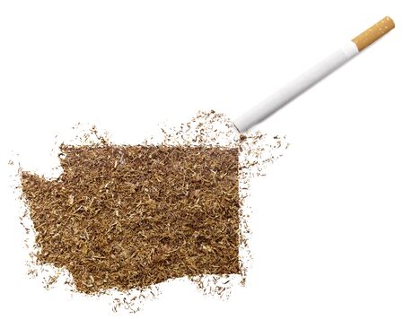 ciggy: The country shape of Washington made of tobacco and a cigarette.(series)