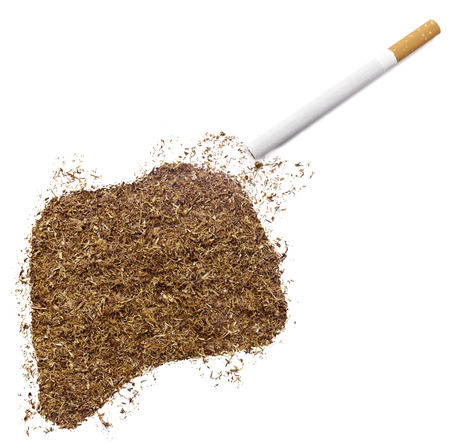 ciggy: The country shape of Rwanda made of tobacco and a cigarette.(series)