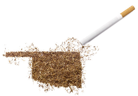ciggy: The country shape of Oklahoma made of tobacco and a cigarette.(series) Stock Photo
