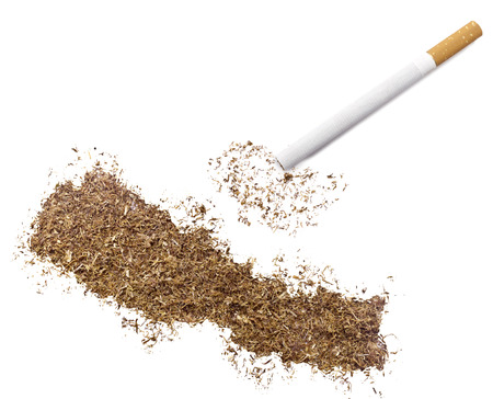 ciggy: The country shape of Nepal made of tobacco and a cigarette.(series)