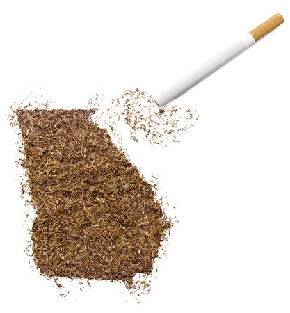 ciggy: The country shape of Georgia made of tobacco and a cigarette.(series)