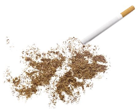 ciggy: The country shape of Falkland Islands made of tobacco and a cigarette.(series) Stock Photo