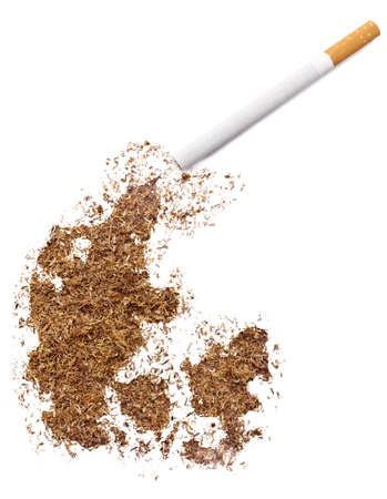 ciggy: The country shape of Denmark made of tobacco and a cigarette.(series)