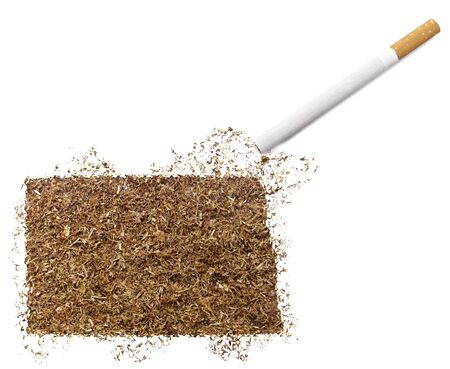 ciggy: The country shape of North Dakota made of tobacco and a cigarette.(series) Stock Photo