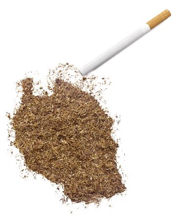 ciggy: The country shape of Tanzania made of tobacco and a cigarette.(series)