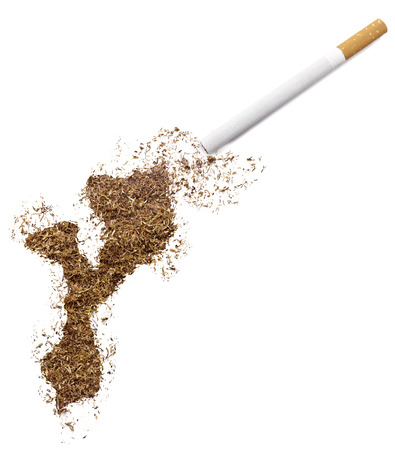 ciggy: The country shape of Mozambique made of tobacco and a cigarette.(series) Stock Photo