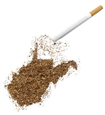 ciggy: The country shape of West Virginia made of tobacco and a cigarette.(series)