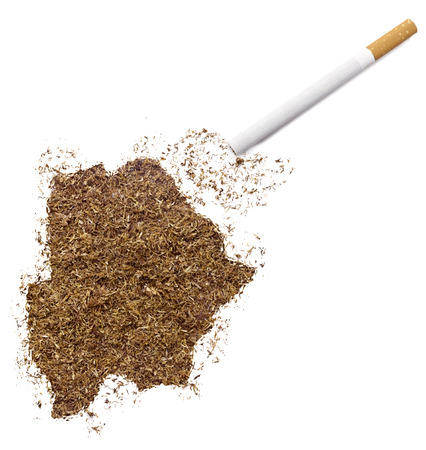 ciggy: The country shape of Botswana made of tobacco and a cigarette.(series) Stock Photo