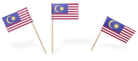 bandera blanca: banderas pequeñas de cóctel de Malasia en diferentes posiciones aisladas en blanco. (serie). También es fácil de usar como un elemento de diseño :)